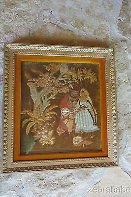 Antique Silk Framed Embroidery 19th Century Nobleman & Woman Continental
