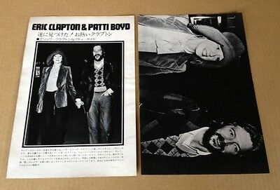 1975 Eric Clapton & Patti Boyd  2pg 2 photo JAPAN mag spread / vintage clippings