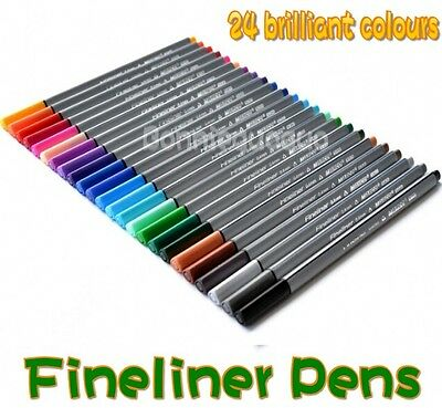 Fineliner Pens 24 Assorted Colours Pack 0.4mm Tip Coloured Fine Superfine MARCO
