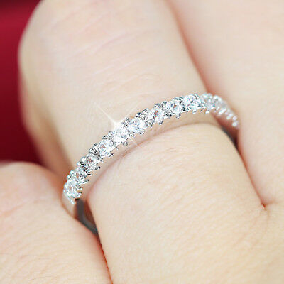 24K Gold Gf Lab Diamonds Anniversary Eternity Wedding Lady Solid Dress Band Ring
