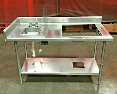 Stainless Table and Hand Sink with Splash Guard and Prep Table with Compartment