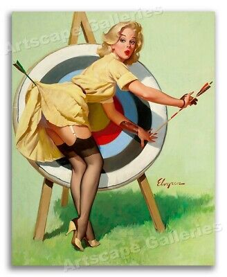 """/""""A Good Catch/"""" Vintage Style Elvgren Pin Up Girl Fishing Poster 16x20"""