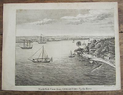 Ancienne Gravure North Weft View From Geriah Fort Northall 1756 Bateaux