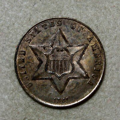 1861 Three Cent Silver * Excellent Details and Originality