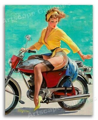 """""""Skirting the Issue"""" Vintage Style Elvgren Pin-Up Motorcycle Poster - 16x20"""
