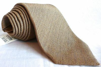 NWT $225 Isaia Napoli Handmade 7 FOLD Woven Lt Brown Wool Silk Tie AUTHENTIC