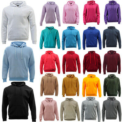 New Men's Adult Unisex Hoodie Jumper Pullover Basic Blank Plain Casual Sports