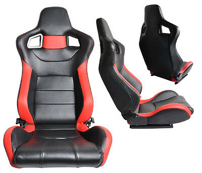 New 2 Black & Red Leather Racing Seats Reclinable W/ Slider All Chevrolet **