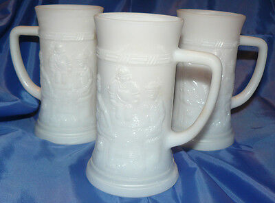 Vintage Antique Three Federal Milk Glass Steins Mugs Glasses Cups White 1960's