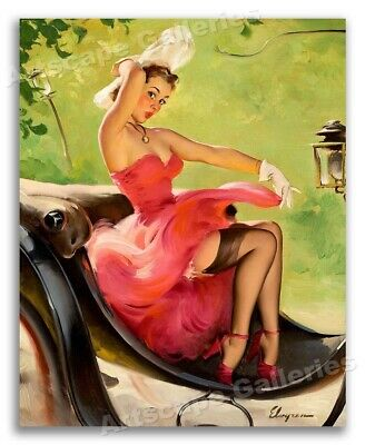 """""""Up in Central Park"""" Vintage Style Elvgren Pin-Up Girl Carriage Poster - 16x20"""
