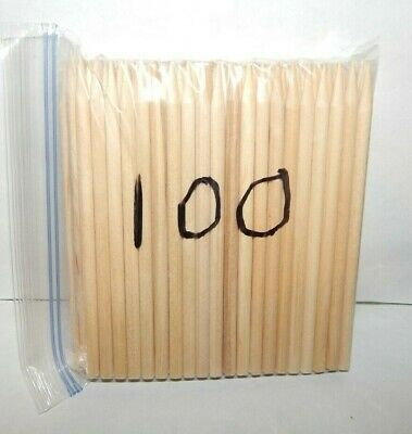 "LOT OF 300 NEW POINTED CRAFT CLEAR WOOD DOWELS~5.5"" x 1/4""~UNPAINTED~UNSTAINED~"