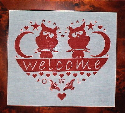 CLEARANCE  - Welcome Owls Heart - single color cross stitch chart - Rovaris