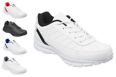 Mens & Boys White or Black Classic Trainers Size 6 to 13 UK - SPORTS WORK / 010