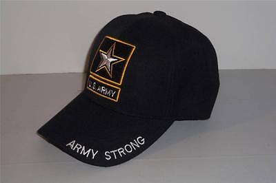 US Army Strong Hat Cap Warriors Black Gold Free Shipping -0514T17