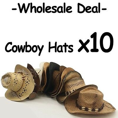 WHOLESALE LOT OF 10 Assorted Variety Cowboy Hats with real straw Western Style