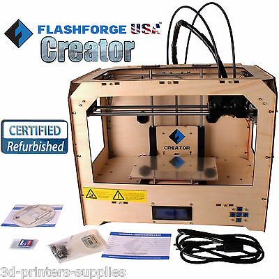 FlashForge USA 3D Model Printer with Dual ABS/PLA Spool Filament Extruder Noozle