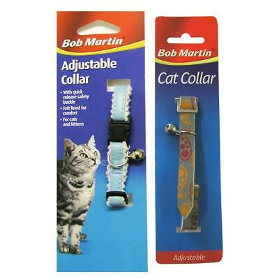 Bob Martin Cat Collar and Kitten Adjustable Quick Release Safety Buckle & Bell