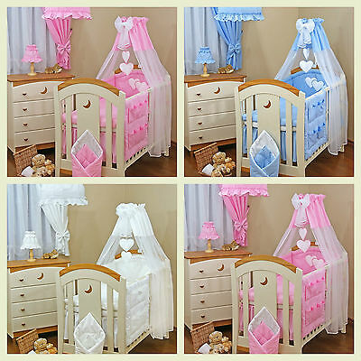 LUXURY 10 pcs BABY BEDDING SET TO FIT BABY COT or COT BED/ LOVE  HEARTS DESIGNE