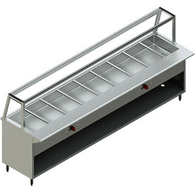 NEW RESTAURANT STAINLESS STEEL 10' Steam Table Nat Gas Model PBTS-10G