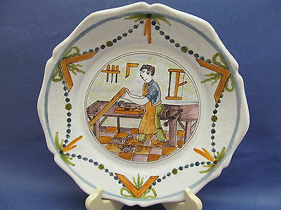 Vintage Hand Painted Faience Pottery Plate ~ Impressed Mark ~ Italy ~ Woodworker