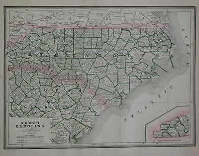 1886 North Carolina Antique Atlas Map^ with Area & Population ...128 years-old!!