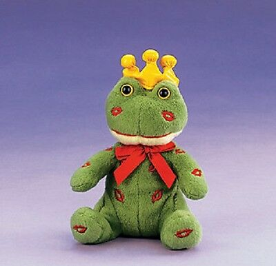 Plush Frog Prince With Embroidered Lips & Gold Vinyl Crown Valentine Gift