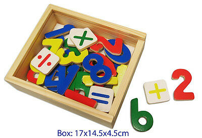 NEW Fun Factory Wooden Magnetic Numbers - 37 pc Set - in Wood Box