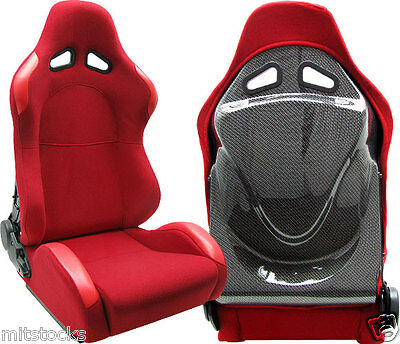 NEW 2 RED + CARBON LOOK BACK COVER RACING SEAT RECLINABLE w/ SLIDER ALL BMW **