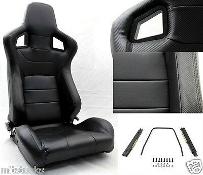 New 2 Black Pvc Leather Carbon Look Trim Racing Seat Reclinable Chevrolet **