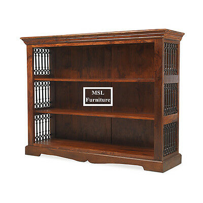Solid Sheesham Wood Low Wide Jali Bookcase Display Unit