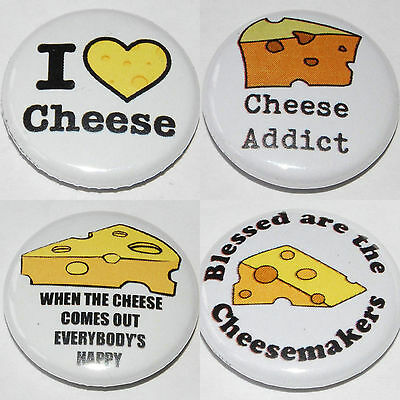 CHEESE Button Badge 25mm / 1 inch - I LOVE - ADDICT HUMOUR GIFT