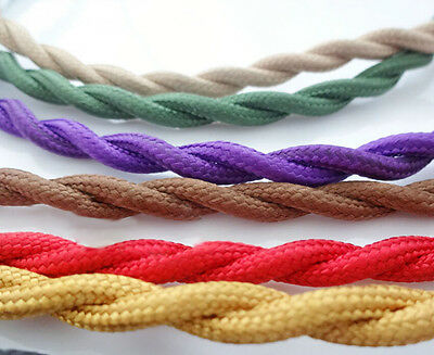 12COLOR ANTIQUE BRAIDED WIRE WOVEN FABRIC 0.75mm² LAMP CABLE CORD LIGHT ELECTRIC