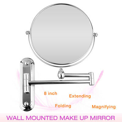 """Chrome Extendable 8"""" Wall Mounted Makeup Shaving 2-Sides 5x Magnification Mirror"""