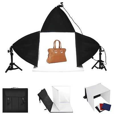 "Photo Studio 16"" Photography Light Tent Backdrop 3x Softboxes Kit Cube Lighting"