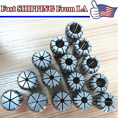 Full 15pcs /size ER25 PRECISION SPRING COLLET Set For CNC Milling Lathe Tool US