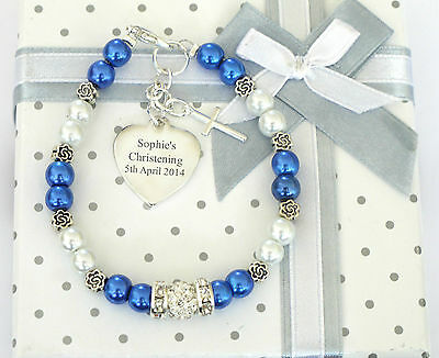 Personalised Baby Bracelet Christening/First Holy Communion Engraved Heart Charm