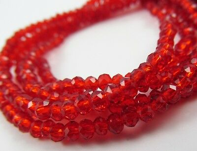Rondelle faceted glass red beads crystal loose jewerly 4mm 6mm 8mm C07