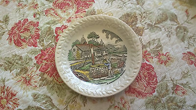 Antique saucer A MOUNTAIN HOME by Adams Pottery, England Beige Green Yellow Or