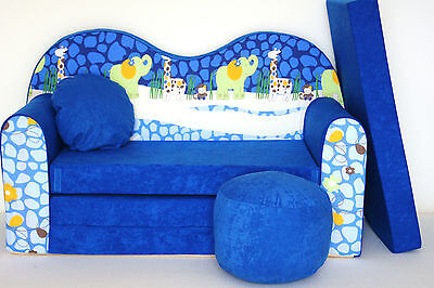 Kids Sofa Bed Furniture + Free Pouffe / Footstool & Pillow