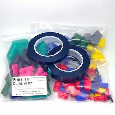 182pc Combo Kit - Powder Coating Plugs, Caps & Tape High Temp Reusable Silicone