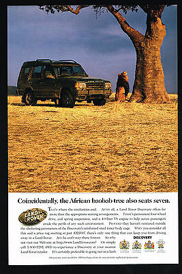 1997 Land Rover Discovery 4WD SUV Photo Seats Seven African Baobab Tree Print Ad