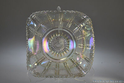 1920's #710 FROSTED BLOCK Imperial IRIDESCENT WHITE Square Bowl made from plate