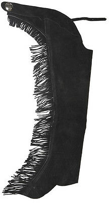 Childs black split leather show Chap with fringe #431