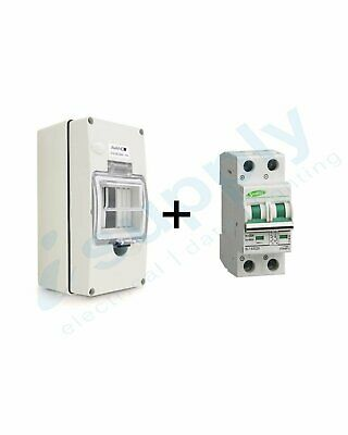 Circuit Breaker 20A 2 Pole MCB DC 500V (Non polarised) Waterproof Enclosure