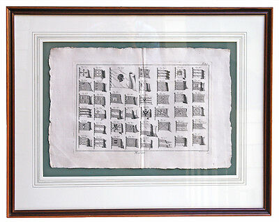Original Copper Plate Engraving of French Royal Navy Maritime Flags (1787)