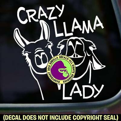 CRAZY LLAMA LADY Vinyl Decal Sticker Llamas Pack Wall Sign Car Window