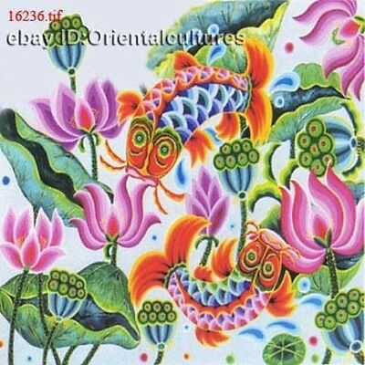 """Chinese 100% Real Natural Silk thread,Hand Embroidery Kits:lotus fishes 14"""""""