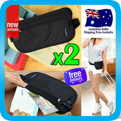 2x Travel Secure Bag Passport Waist Pouch Card Ticket Money Belt Secret Wallet