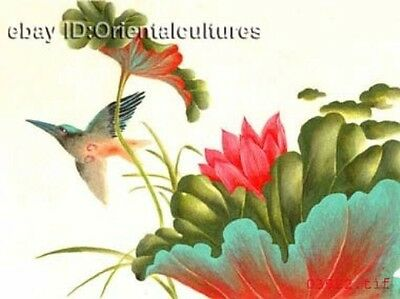 """Chinese 100% Real Natural Silk thread,Hand Embroidery Kits:flower lotus bird 16"""""""