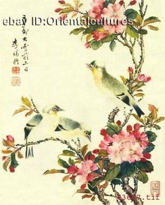"""Chinese 100% Real Natural Silk thread,Hand Embroidery Kits: flower birds 16"""""""